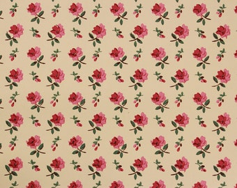 1940s Vintage Wallpaper Petite Pink Roses on Yellow by the Yard