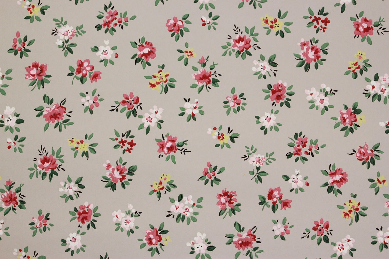 1940s Vintage Wallpaper Roses and White Flowers on Gray