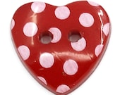 Valentine red hearts  buttons acrylic  quantity 20 craft scrapbooking animal,  sewing supplies, findings, notion