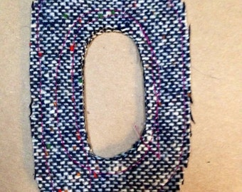 Fabric Letter O patch alphabet for use in your DIY project handmade shabby prim monogramprimitive supplies applique