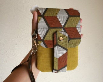 Hexagons in Browns and Mustard- Phone Wallet with Card Slots and Zipper- Leather Wrist Strap