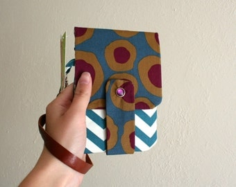Organic Circle Print with Chevrons - Phone Wallet with Card Slots and Zipper- Leather Wrist Strap