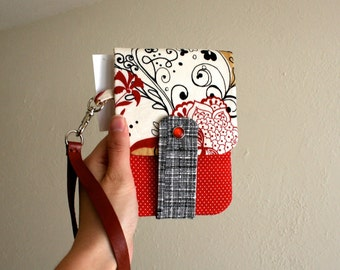 Pretty Black White and Red Print - Phone Wallet with Card Slots and Zipper- Leather Wrist Strap