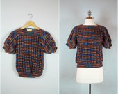 Vintage 50's fitted short sleeve sweater / Multi color boatneck sweater / 50's cropped sweater