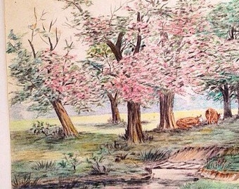 antique pencil drawing - original 1930s colored pencil landscape - pink cherry trees