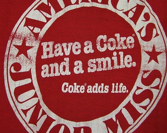 vintage 1970s super awesome red COKE adds life t shirt america JUNIOR miss beauty pageant S M tee collectible souvenir SMILE coca cola U S A