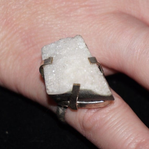 Vintage Studio Artisan Sterling Silver Quartz Drusy Statement Ring