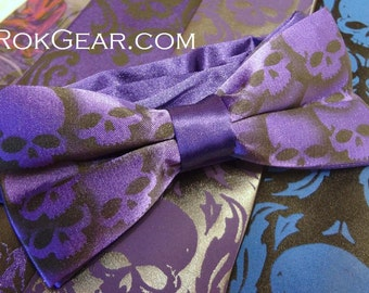 RokGear Skull Bow tie design - Men's Dark Purple pre tied collar band bow tie