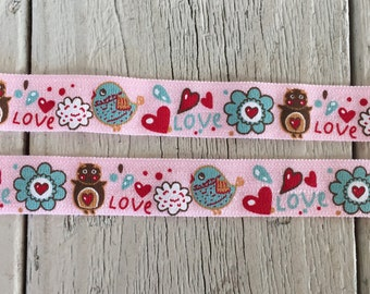 "New-BIRD FLOWER HEART on Pink  Elastic 5/8""- 5 yards"