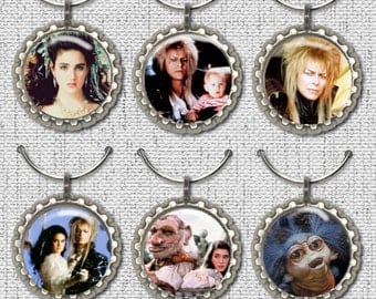 Labyrinth Movie Bottle Cap Wine Glass Charms Markers
