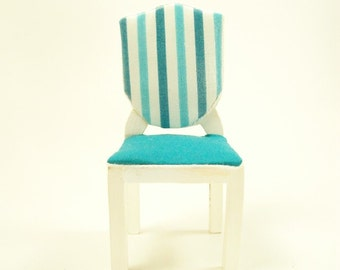 Teal Dining Chairs Aqua White Wood 1:12 Dollhouse Miniatures Artisan