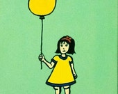 Girl in a yellow dress with a yellow balloon acrylic painting