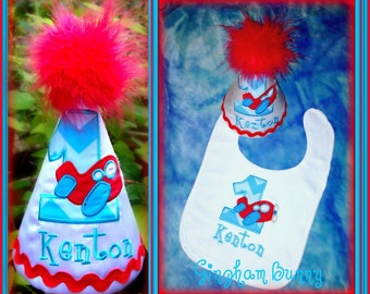 2 Pc. Cake Smash Set,  Airplane First  Birthday Hat, and Bib You choose colors,  by GINGHAM BUNNY