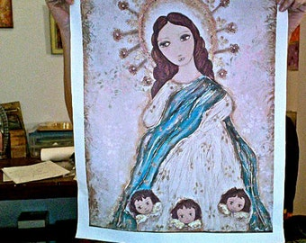Immaculate Conception -Large Print on Fabric from Original Painting (16 x 20 inches) by FLOR LARIOS