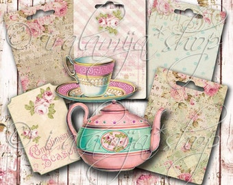 TEA PARTY Collage Digital Images -printable download file-
