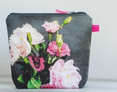 Reserved listing-Linen cosmetic bag -grey and pink zippered bag with water resistant lining- nappy bag - Peonies floral exclusive print