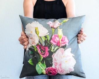 Peonies bouquet decorative throw pillow cover, linen/cotton print- fits 18 inch square pillow- floral unique mother day gift idea