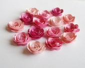 15 Pink Ombre rolled paper flowers, wedding decoration,scrapbook decoration,table decoration, rosette,small flower,embellishment