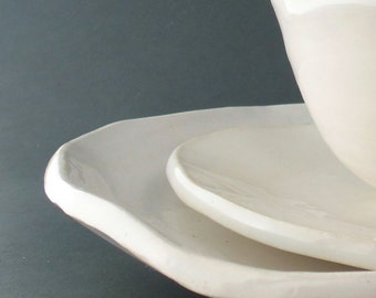 Handmade pottery Dinnerware Set White