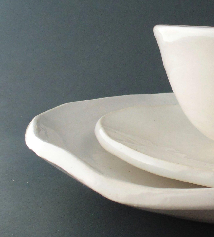 Handmade Pottery Dinnerware Set White