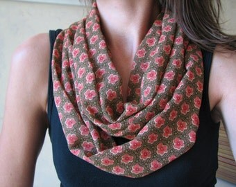 Brown Floral Chiffon Infinity Scarf