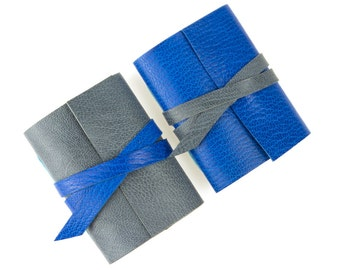 Rainy Day Mini Journal: Sapphire Blue and Gray little leather notebook Gifts For Men. Made in Britain, Ships worldwide.