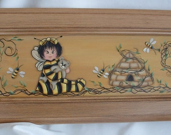 """Bee Baby with Bee Hives and Grapevines Painting on Wood - 7 by 29"""" Hand Painted"""