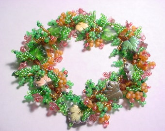 Fall Chinese Flame Tree Leafy Vine Beaded Bracelet Pattern PDF
