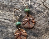 RESERVE LISTING for CINDY-Bronze and Turquoise Raku Dragonfly Earrings