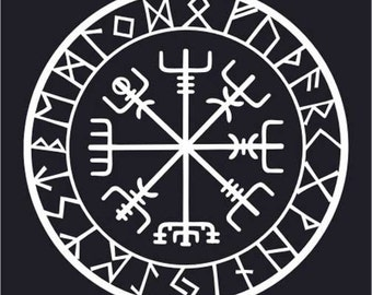 Viking protection runes vegvisir compass talisman white vinyl decal