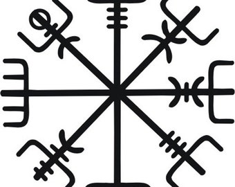 Icelandic Viking vegvisir rune black vinyl decal