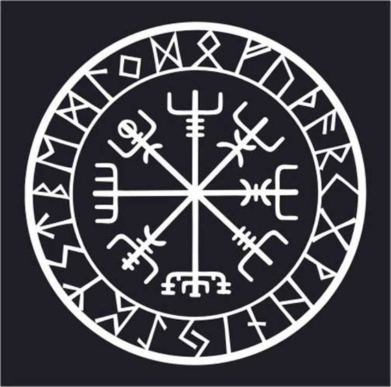 viking protection runes vegvisir compass talisman white vinyl. Black Bedroom Furniture Sets. Home Design Ideas