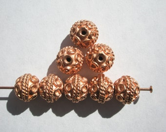 Copper Bali style  Beads - 9x7.5mm - 8