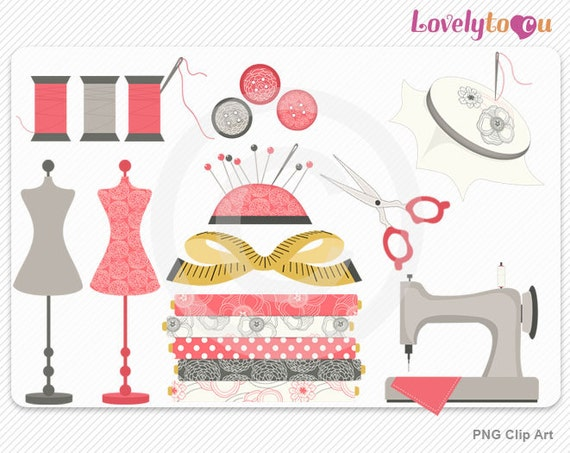 Sewing clip art set, mannequin, needle, thread, digital PNG clip art ...