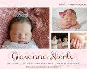 Sadie Baby Girl Announcement DIY Printable OR Printed Card