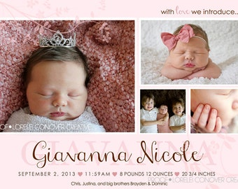 Sadie Baby Girl Announcement DIY Printable OR Printed Card