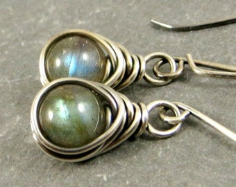 Labradorite Earrings, Gemstone Earrings, Fine Silver Jewelry, Gift for Her Gifts for Her
