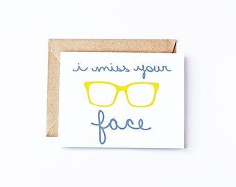 Miss You Card Miss Your Face Eco Friendly Recycled Paper Greeting Cards Hand Lettered Funny Cards Funny Greeting Cards Thinking of You Card