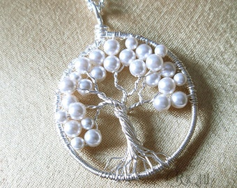 Petite-Mini-Small White Pearl Tree of Life Pendant with Silver Chain-Bridal/Bridesmaid Tree of life-June Birthstone