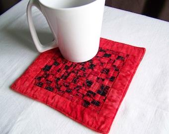 Mug Rug Coaster or Mini Quilt  Woven Scrappy Batiks
