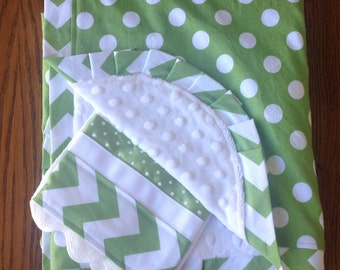 Green and White Polka Dot and Chevron Blanket and Burp Cloth Set...PERSONALIZATION AVAILABLE