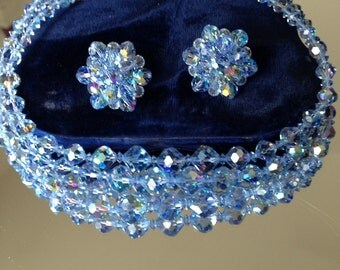 Rare, beautiful blue AB crystal necklace & earring set - in original box