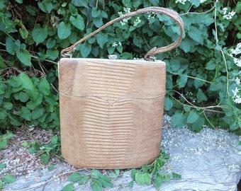 Vintage Lizard Purse, Box Style Handbag, Top Handle Bag, Reptile Purse, Exotic, Unique Purse