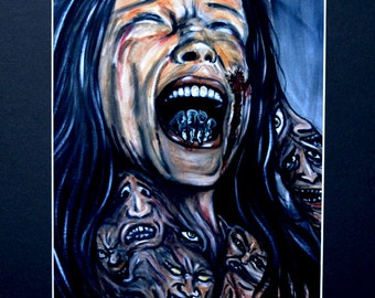 Woman With Demons Screaming Art Print Black Matted To 11x14