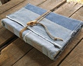 Large Soft Cover Patchwork Denim Journal With Suede Lace and Button Wrap, Repurposed Blue Denim Art Journal, Large Handmade Denim Sketchbook