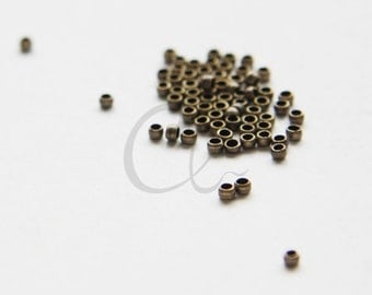 100pcs Antique Brass Plated Brass Base Crimp Beads-2mm (324C-I-399)