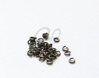 3.3 Grams Antique Brass Plated Brass Base Jump Rings-3.4mm (21 Gauge) (1951C-I-398)