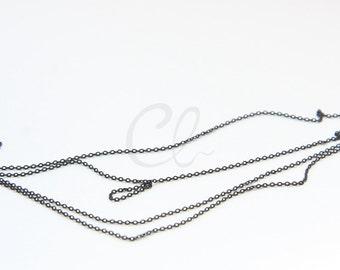 6 Feet Matte Black Plated Brass Base Chains - Flat Oval 1.34x1mm (220SF07)
