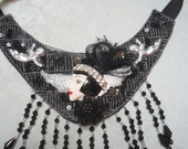 50% OFF - NECKLACE Bib Statement Flapper Girl Beaded Rhinestones - Bib Necklace - Black and Silver