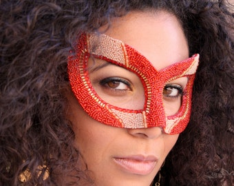 Phoenix Rising - Hand Beaded Masquerade Ball Mask in Red and Gold - Alternative Wedding Veil or Fascinator